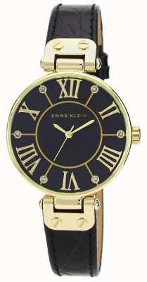 Anne Klein | zegarek sygnowany kobietą czarny i złoty | AK/N1396BMBK