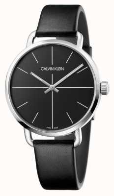 Calvin Klein | męskie nawet oglądać | czarny skórzany pasek | czarna tarcza | K7B211CZ