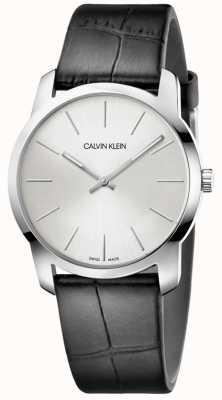 Calvin Klein | zegarek przedłużający miasto | czarny skórzany pasek | srebrna tarcza | K2G221C6