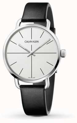 Calvin Klein | nawet zegarek rozszerzający | czarny skórzany pasek | biała tarcza | K7B211CY