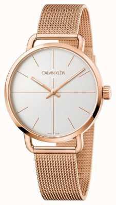 Calvin Klein | nawet oglądać | pasek z siatki w kolorze różowego złota | srebrna tarcza | K7B21626