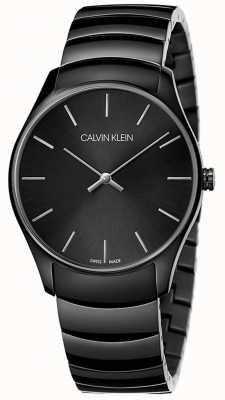 Calvin Klein   męskie klasyczne średnie   czarny pasek ze stali nierdzewnej   K4D21441