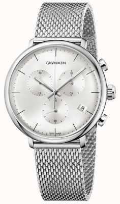 Calvin Klein | męski pasek ze stali nierdzewnej o wysokiej jakości | srebrna tarcza | K8M27126