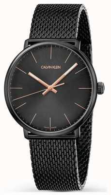 Calvin Klein   zegarek w południe   czarny pasek z siatki nierdzewnej   czarna tarcza K8M21421