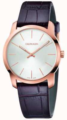Calvin Klein | zegarek przedłużający miasto | brązowy skórzany pasek | srebrna tarcza | K2G226G6