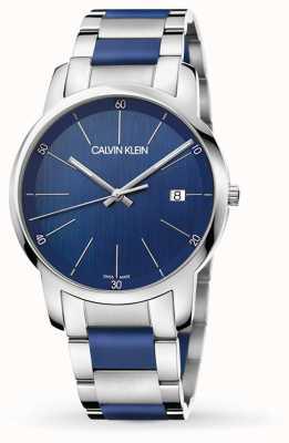 Calvin Klein | przedłużenie miasta dla mężczyzn | dwukolorowa stal nierdzewna | niebieska tarcza K2G2G1VN