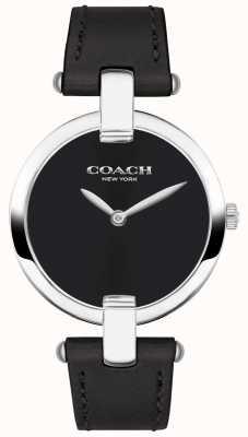 Coach | damski zegarek chrystie | czarna skóra i stal | 14503091