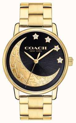 Coach | wielki zegarek damski | złoto z detalami księżyca na twarzy | 14503278