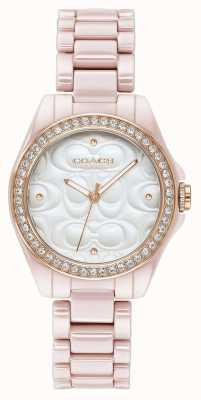 Coach | nowoczesny zegarek sportowy dla kobiet | różowy z białą twarzą | 14503256