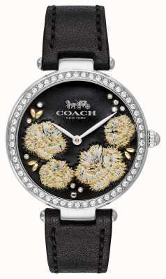 Coach | zegarek na park dla kobiet | czarny skórzany pasek czarna tarcza 14503283