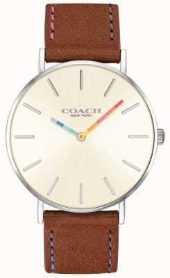 Coach | damski zegarek perry | brązowy skórzany pasek z białym pokrętłem | 14503032