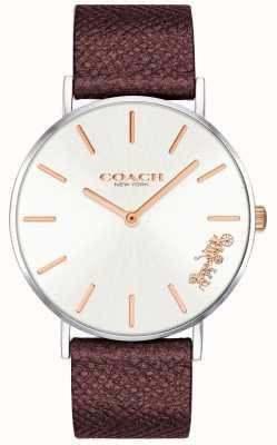 Coach | damski zegarek perry | czerwony skórzany pasek | 14503154