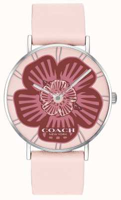 Coach | zegarek damski | różowy skórzany pasek | kwiatowa tarcza | 14503231