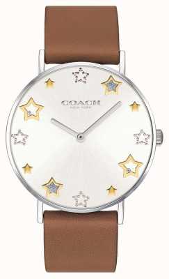 Coach | damski zegarek perry | brązowy skórzany pasek | 14503242