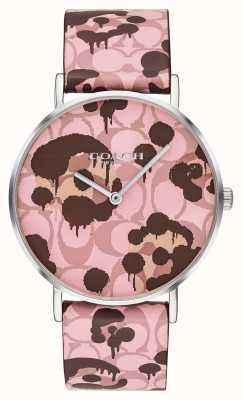 Coach | damski zegarek perry | różowy skórzany pasek kwiatowy wzór | 14503246
