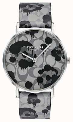 Coach | damski zegarek perry | szary skórzany pasek kwiatowy wzór | 14503248