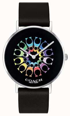 Coach | zegarek damski | czarny skórzany pasek czarna tarcza | 14503289