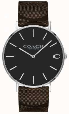Coach | męski zegarek charles | brązowy skórzany pasek | 14602156
