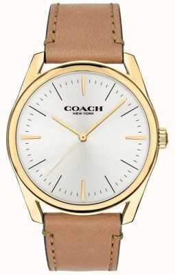 Coach | mężczyzna nowoczesny luksusowy zegarek | brązowy skórzany pasek z białą tarczą 14602398