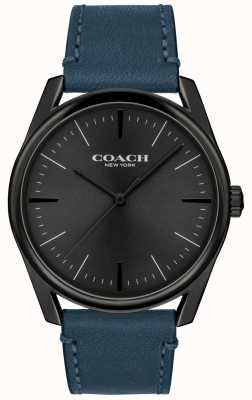 Coach | mężczyzna nowoczesny luksusowy zegarek | niebieski skórzany pasek | 14602399