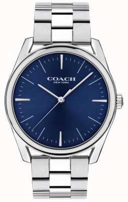 Coach | męski nowoczesny luksusowy zegarek | niebieska tarcza ze stali nierdzewnej | 14602401