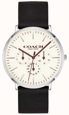 Coach | mężczyzna varick zegarek | czarny skórzany pasek z białym pokrętłem | 14602387