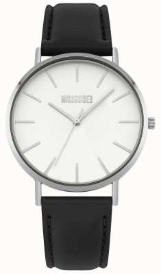 Missguided | zegarek damski | czarny skórzany pasek biała tarcza | MG017B