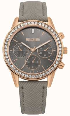 Missguided | zegarek damski | szary skórzany pasek w kolorze różowego złota | MG002ERG