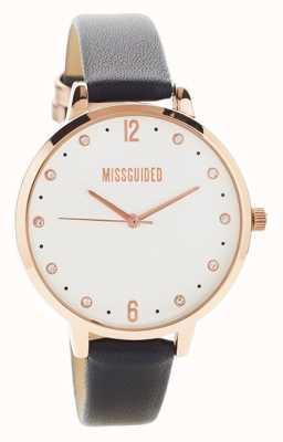 Missguided | zegarek damski | czarna skórzana koperta w kolorze różowego złota | MG010BRG