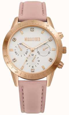 Missguided | zegarek damski | różowy skórzany pasek | MG004PRG