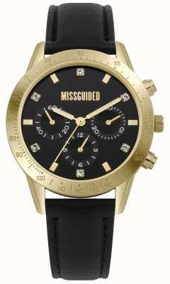 Missguided | zegarek damski | czarna skórzana złota obudowa | MG004BG