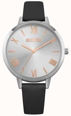 Missguided | zegarek damski | czarny skórzany pasek srebrna tarcza | MG001B