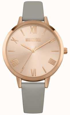 Missguided | zegarek damski | szary skórzany pasek różowa tarcza | MG001ERG