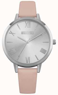 Missguided | zegarek damski | różowy skórzany pasek srebrna tarcza | MG001P