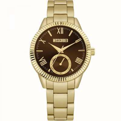 Missguided | złota bransoleta ze stali nierdzewnej dla kobiet | brązowa tarcza | MG006GM