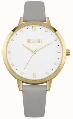 Missguided | zegarek damski | szary skórzany pasek złota obudowa | MG010EG