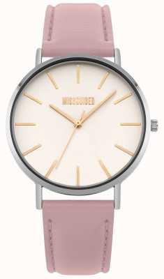Missguided | zegarek damski | różowy skórzany pasek biała tarcza | MG017P