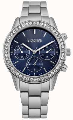 Missguided | zegarek damski | niebieska tarcza ze stali nierdzewnej | MG002USM