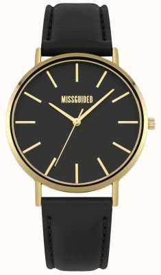 Missguided | zegarek damski | czarny skórzany pasek czarna tarcza | MG017BG