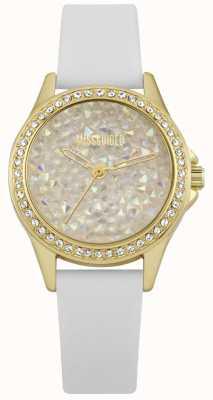 Missguided | zegarek damski | biały skórzany pasek złoty futerał | MG013WG