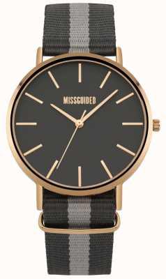 Missguided | zegarek damski | czarny i szary pasek z tkaniny | MG018ERG