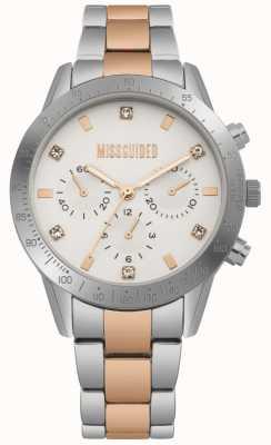 Missguided Damski zegarek ze stali nierdzewnej w dwóch odcieniach srebra i różowego złota | MG004SRM