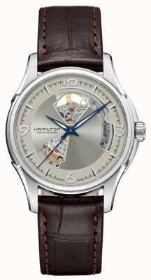 Hamilton Jazz mistrz automatyczne otwarte serce srebrny wybierania brązowy skórzany H32565521