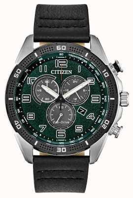 Citizen Eko-napęd wymagał męskiej, zielonej skóry wybierania wr100 AT2441-08X