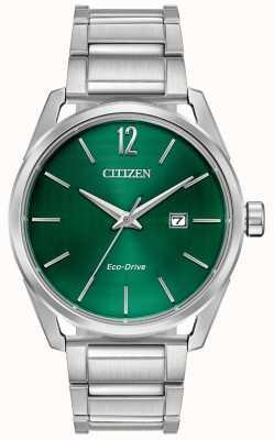 Citizen Męska zielona metalowa bransoletka z ekologicznym napędem BM7410-51X
