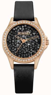 Missguided | czarny skórzany pasek damski | czarna kryształowa tarcza | MG013BRG
