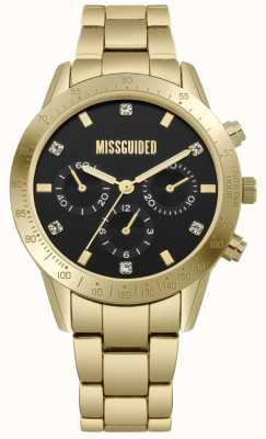 Missguided | damskie złote ze stali nierdzewnej | czarna tarcza | chronograph | MG004GM
