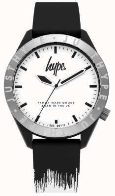 Hype | męski czarny / biały pasek silikonowy | biała tarcza | HYG006BW