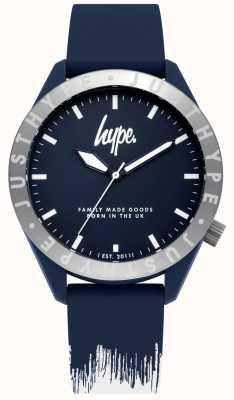 Hype | męski niebieski / biały pasek silikonowy | niebieska tarcza | HYG006UW