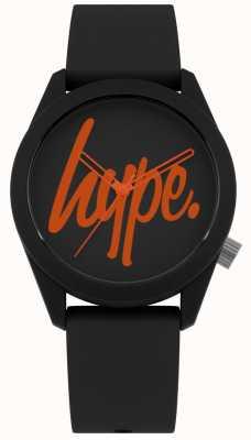 Hype | czarny pasek silikonowy | czarna i pomarańczowa tarcza | HYU001BO